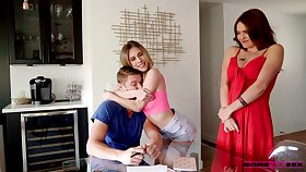 Coxcomb has a nice threeway fuck fro a MILF stepmom and his girlfriend
