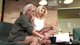 Aging lesbian Elvira is fond be expeditious for beautiful young body be expeditious for 19 yo model Missy Luv
