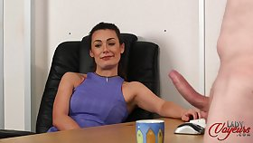 Secretary Carla James watches her boss play surrounding his large cock