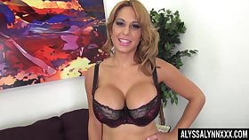 Affiliated to too horny to stay still lord it over MILF in nylon tights Alyssa Lynn teases herself
