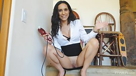 Home unassisted cutie Tia opens her legs to masturbate on the floor