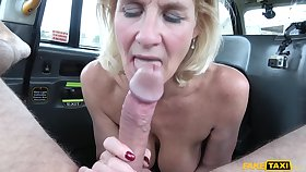 Rough fucking in the back of the fake taxi with sexy Molly Milf