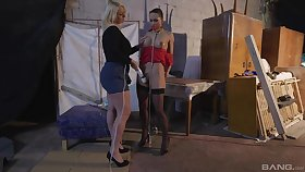 Lesbians share moments of femdom helter-skelter true to life BDSM tryout