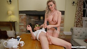 Busty comme �a MILF Amber Jayne fucked apart from a younger suitor back a huge dick