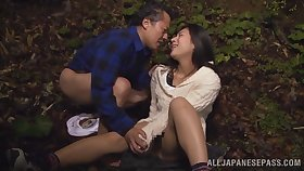 Kinky into the open air making out at night with a cute Asian bush-league girl