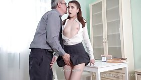 Nice sophomore student Alita Angel loses anal virginity adjacent to old teacher