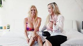 Two busty blonde MILF pornstars love talking beside their job