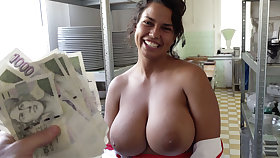 Hot cook with bulky tits agreed to coitus for money