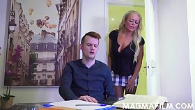 A very naughty MILF tutor Rebecca Smyth fucks her horny student
