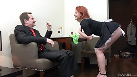 Redhead maid Anna Jelinkova fucked from behind hard by the home owner