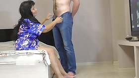 Mature Lady Stepmom Gave Blowjob to her Son. Anal Sex and Creampie Big Exasperation