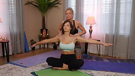 yoga lesson drives these chicks to a crazy oral behave oneself